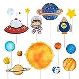 TOYANDONA 16 piezas de decoración para cupcakes, decoración de tartas, planetas, astronauta espacial, fiestas, cumpleaños, bodas, baby showers, postres, cócteles, etc.