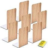 Qualsen Sujetalibros, Sujeta Libros, 8 unidades Sujetalibros metálicos Antideslizante, madera...