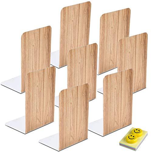 Qualsen Sujetalibros, Sujeta Libros, 8 unidades Sujetalibros metálicos Antideslizante, madera imitativa, 20 x 14 x 10 cm