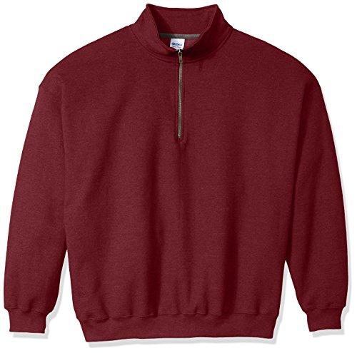 Gildan Men's Fleece Quarter-Zip Cadet Collar Sweatshirt, Maroon, Large