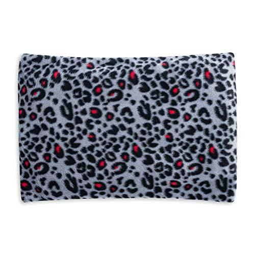 Cuscino termico con semi di ciliegia per il massimo relax e benessere, da riscaldare in forno o microonde, 350 grammi di noccioli di ciliegia, 30 x 20 cm (Pink Leopard)