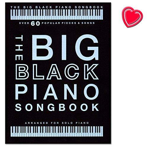 The Big Black Piano Songbook - 60 bekende nummers ingesteld voor piano solo - Mozart, Mariah Carey, Einaudi, Elton John, John Williams, Justin Bieber - Songbook met hartvormige muziekklem