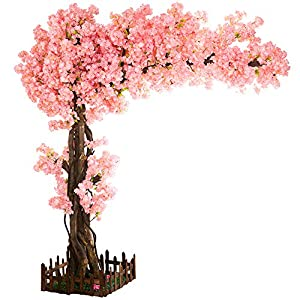 J-beauty Artificial Cherry Blossom Pink Thick Tree for Wedding Thick Flower Artificial Plant for High School Indoor Outdoor Party Restaurant Mall Silk Flower (6-6.5ft T(4.5-5ft Width))