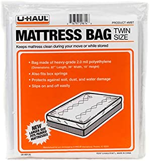 """U-Haul Twin Mattress Bag for Moving and Storage Protection – 87"""" x 39"""" x 10"""" Bag"""