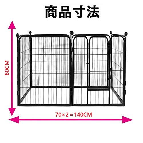 DUDUPETペット犬ケージ折り畳み式金属犬クレート中小型犬ケージペット犬のフェンスを金属室内犬フェンス大型犬の塀犬ケージ(70×80cm)