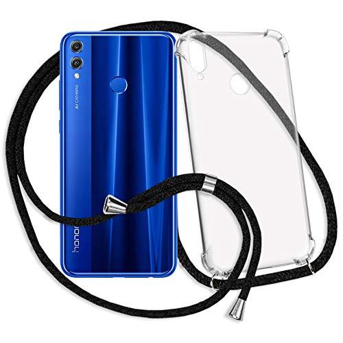 mtb more energy® Handykette kompatibel mit Honor 8X (6.5'') - schwarz - Smartphone Hülle zum Umhängen - Anti Shock Strong TPU Case