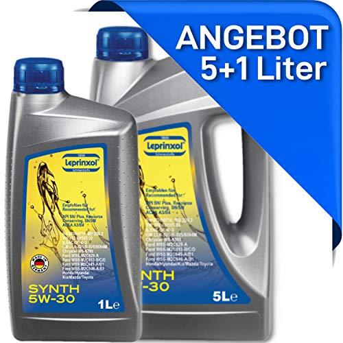 Leprinxol 5 + 1 Liter Synth 5W30 MOTORÖL das richtige KFZ Motorenöl für Normen RN 0700 0710; F O R D WSS; MS-6395; O P E L GM LL A-025 B-025 5W-30 6 Liter