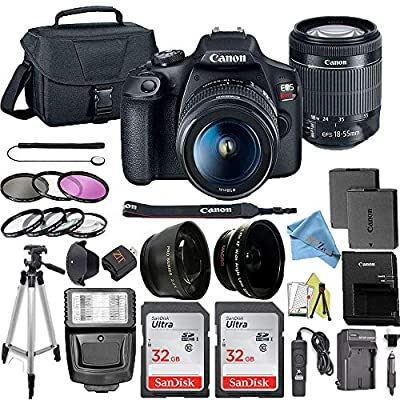 Canon EOS Rebel T7 DSLR Camera Bundle with Canon 18-55mm Lens + 2pc SanDisk 64GB Memory Cards + Accessory Kit by Canon (ZT)