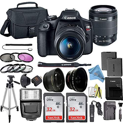 New Canon EOS Rebel T7 DSLR Camera Bundle with Canon 18-55mm Lens + 2pc SanDisk 32GB Memory Cards + ...
