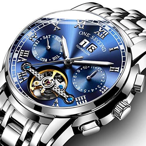 Orologio da uomo Relojes para Hombre, cronógrafo Impermeable, Acero Inoxidable, Reloj de Cuarzo analógico, Fecha Casual de Negocios (Color : A)