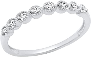 1/10 CT 10K White Gold Round White Diamond Ladies Wedding Anniversary Stackable Band (Size 8)