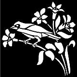 Creative Expressions - Estarcido para fabricación de Papel, diseño de Flores y pájaro, Color Beige