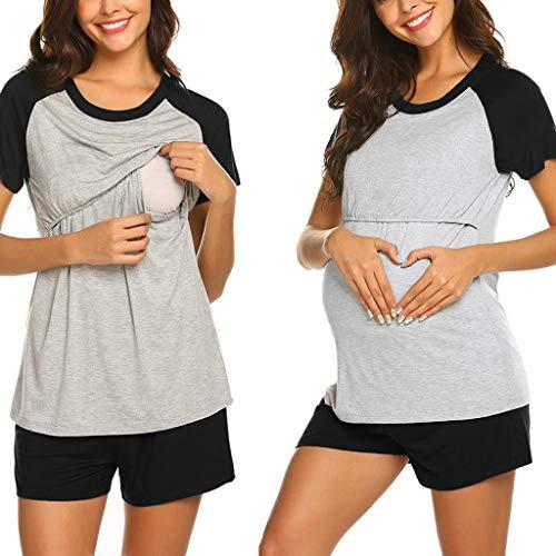 Allence - Camiseta de lactancia materna para mujer, diseño de capa envolvente Negro S