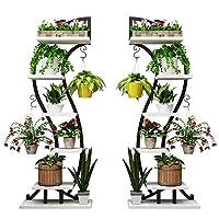 DAQUANTOU 5ティアプラントスタンドラックは、金属工場は複数の花がパティオガーデンコーナーバルコニーリビングルームのための屋内屋外の植物展示棚をスタンドラックスタンド(2セット)