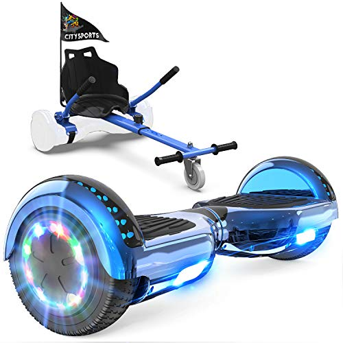 GeekMe Hoverboard mit Sitz,Elektroroller Hoverkart, Elektro Scooter Go-Kart mit Bluetooth-Lautsprecher LED-Leuchten, Geschenk für Kinder Jugendliche Erwachsene