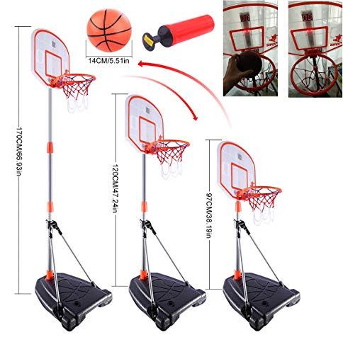 Mecotech Basketballständer, 170CM Basketballständer mit Scoring Gerät Höhenverstellbar Stabil BasketballKorb mit Ständer Backboard Ständer Hoop Set mit Timer für Kinder