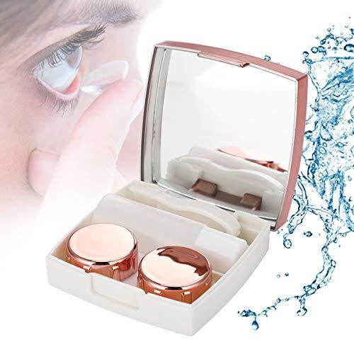 HaiQianXin Tragbarer Kontaktlinsenhalter Aufbewahrungsbox Tränkbox Kontaktlinsenlagerung Tränketui mit Spiegel (Color : Pink)