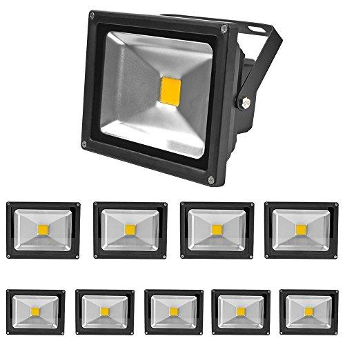 Greenmigo 10 Stücke 20W LED Strahler Fluter Warmweiss Objektbeleuchtung Außenstrahler Wandstrahler Flutlichtstrahler Gartenlampe IP65 85V-265V