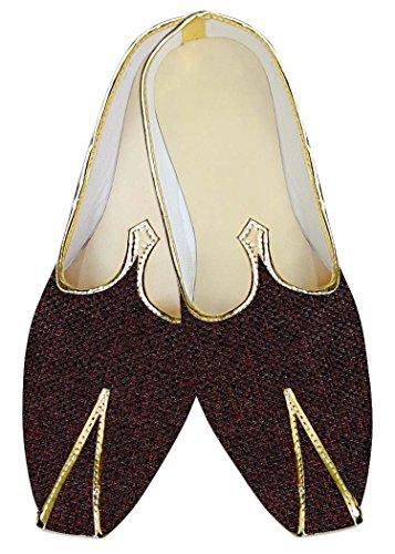 INMONARCH Hombres Vino Yute Zapatos de Boda Novio MJ013940S12 46 El Vino
