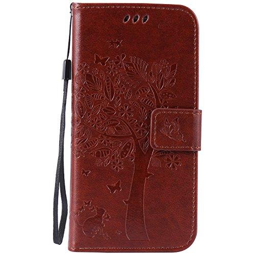 Karomenic kompatibel mit Samsung Galaxy S7 PU Leder Hülle Katze Baum Prägung Handyhülle Brieftasche Silikon Schutzhülle Klapphülle Ledertasche Ständer Wallet Flip Case Schale Etui,Brown#