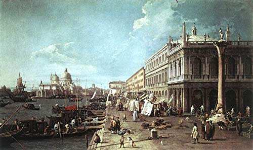 "Canaletto Molo with the Library ~ Molo Looking Towards the Zecca 1742-30"" x 18"" Fine Art Giclee Canvas Print (Unframed) Reproduction"