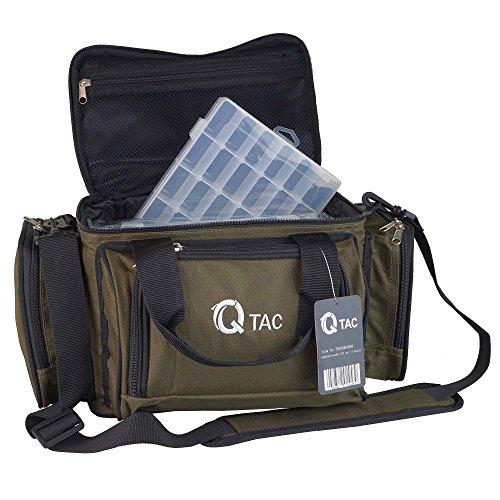 Q-Tac XC1 Angeltasche Robust u. Praktisch, Karpfentasche groß mit Vier Kunststoff-Boxen, Anglertasche für Zubehör, Grün/Schwarz