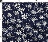 Spoonflower Stoff – Schneeflocken Marineblau Sterne Winter