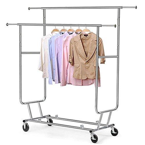 Yaheetech Industrie Kleiderständer auf Rollen 130 kg Stabiler 2 Kleiderstange Wäscheständer Langverstellbar höhenverstellbar zusammenklappbar