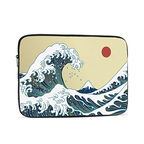 Great Waves Kanagawa Tsunami Nautical And Red Sun Laptop Sleeve Compatible for Apple MacBook Mac Acer Aspire Samsung Lenovo Surface Book Hp Laptop Cover Bag Carrying Case 17 inch