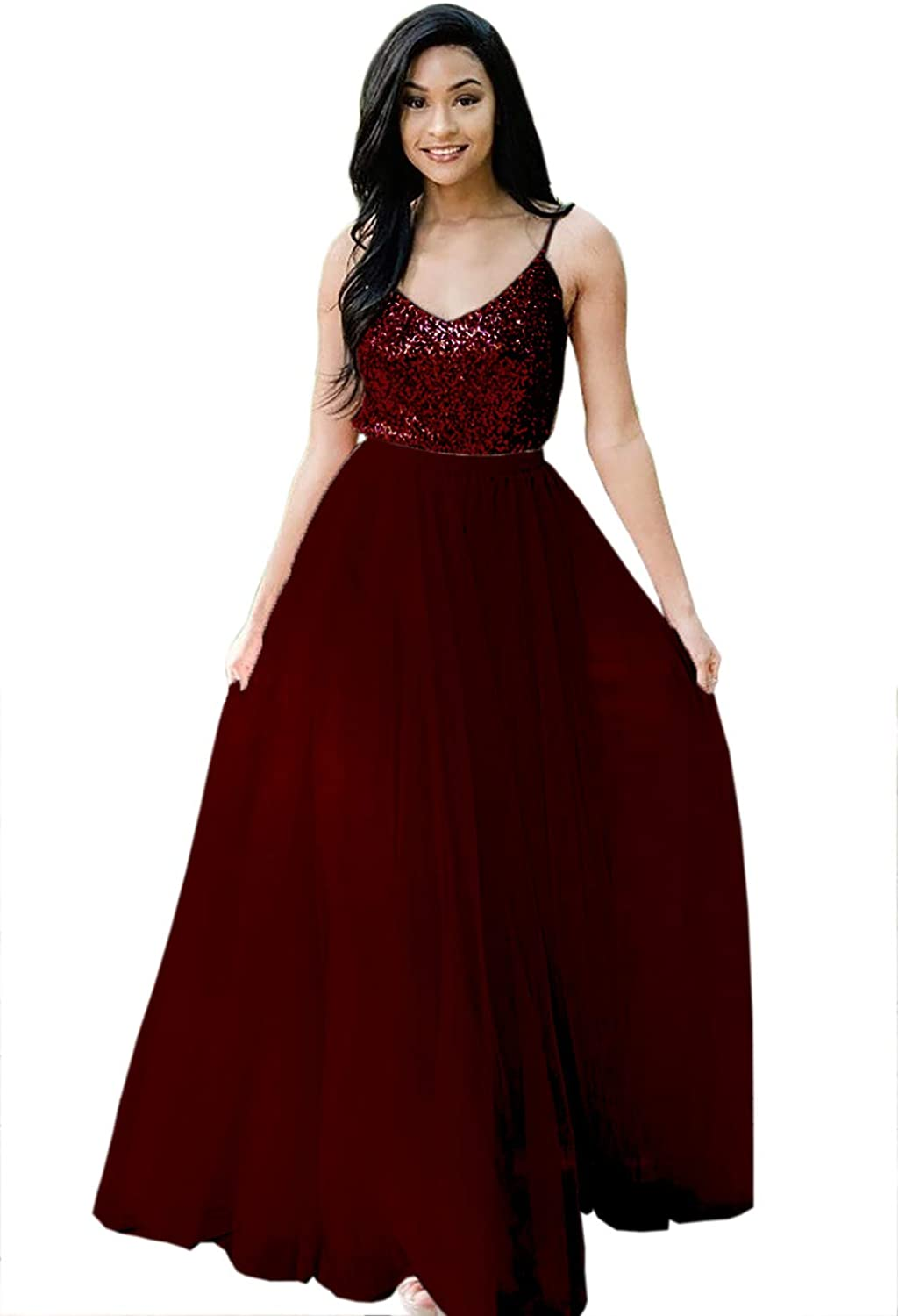 Karever Bridesmaid Dresses Two Pieces Sequin Long Prom Dress Spaghetti Backless Wedding Party Evening Gowns