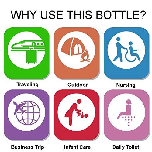 botella de viaje para inodoro con bolsa de almacenamiento para Audlt Child Puerpera Driver Use Paquete de 2 bid/é port/átil de 500 ml con pulverizador de viaje para bid/é
