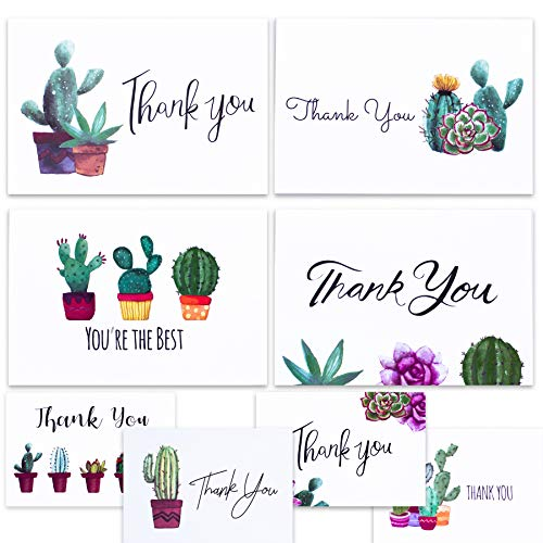 Cactus Thank You Cards for Succulent Thank You Notes! Bulk Set of 48 Blank Cards with Envelopes for Baby Shower Note Cards, Wedding Thank You Cards and Bridal Shower Thankyou Card