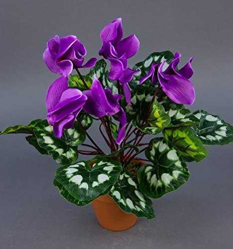 Seidenblumen Roß Alpenveilchen 36cm lila im Topf ZF künstliche Blumen Kunstpflanzen Kunstblumen Cyclamen