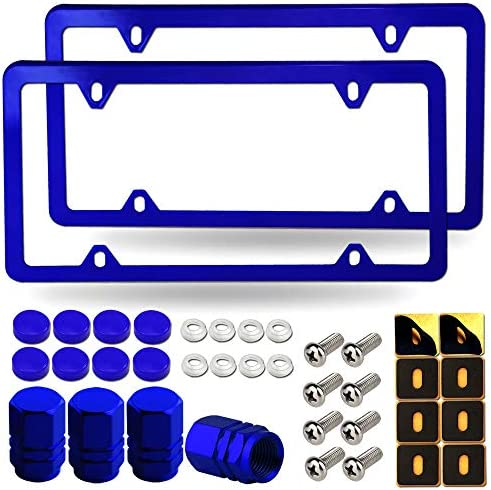 BGMVFK Blue License Plate Frames 2 Pack 4 Holes Thin Metal Aluminum Car Tag Cover Holder with product image