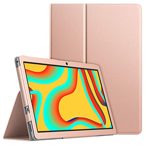 MoKo Case Compatible with Vankyo MatrixPad S30 10 Inch Tablet, Slim Light-Weight PU Leather Smart Tablet Shell Cover Foldable Stand Case Fit Vankyo MatrixPad S30 10-Inch Tablet ONLY - Rose Gold