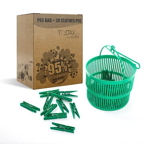 Today - Cesta Pinzas Ropa + 30 Pinzas Ropa - 95% Plástico Reciclado. Ideal para lavandería. Fuertes y a Prueba de Viento. Made in Italy by Remake