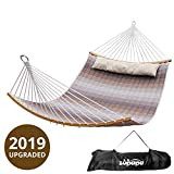 Zupapa Quilted Double Hammock, Folding Curved Hammock 2019 Upgraded Design 11ft for Backyard Patio Use 2 Person Portable Carry Bag Included