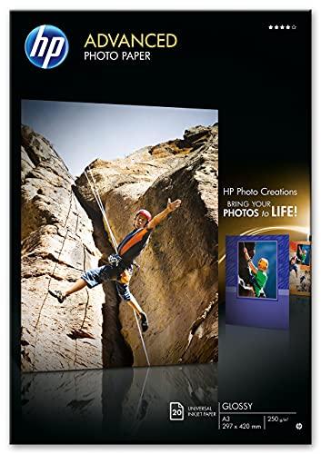 HP Advanced Glossy Photo Paper, Q8697A, 20 hojas de papel fotográfico satinado avanzado, compatible con impresoras de inyección de tinta, A3, peso del material de impresión 250 g/m²