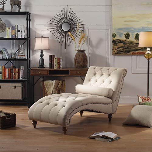 Rosevera Teofila Tufted Chaise Lounge Chair, Beige