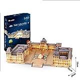 CCCYT DIY Puzzle 3D De Louvre Francia Kit de Construcción de Museo de Paris Juguetes LED Modelos Decoración De Mobiliario Exquisita, Adecuado para La Colección (137Pcs)