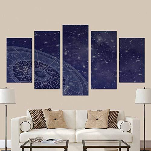 Tierkreis-Kreis überlagert auf Sternfeld-Fotos, die vom Hubble-Teleskop aufgenommen wurden 5 Bilder Gemälde auf Leinwand Wandkunst für Wohnzimmer Schlafzimmer Home Dekorationen mit Rahmen