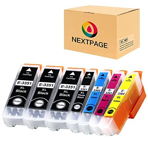 NEXTPAGE Cartuchos de tinta compatibles 33XL para impresoras Epson 33XL 33 XL para Epson Expression Premium XP-7100 XP-640 XP-430 XP-830 XP-645 XP-900 XP-630 XP-635 XP-645 (7 unidades)