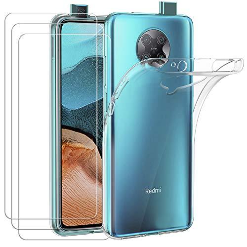 ivoler Hülle für Xiaomi Poco F2 Pro + [3 Stück] Panzerglas, Durchsichtig Handyhülle Transparent Silikon TPU Schutzhülle Hülle Cover mit Premium 9H Hartglas Schutzfolie Glas