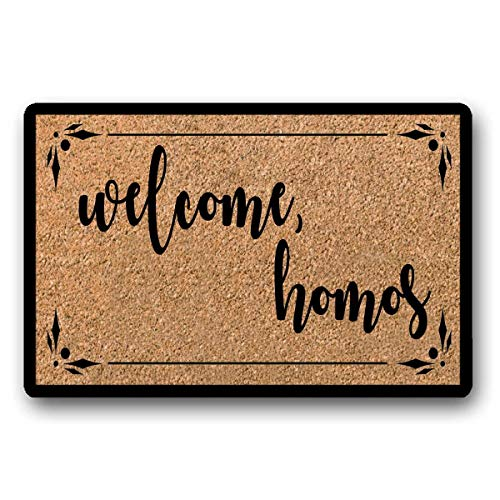 WYFKYMXX Welcome Homos Flocked Coir Doormat Funny Gay Lesbian Gift Doormat Rug Personalized Doormat Housewarming Gift 23.6' x 15.7'