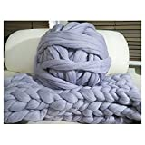 HomeModa Studio Non-Mulesed Chunky Wool Yarn Big Chunky Yarn Massive Yarn Extreme Arm Knitting Giant Chunky Knit Blankets Throws Grey White (250g, Grey)