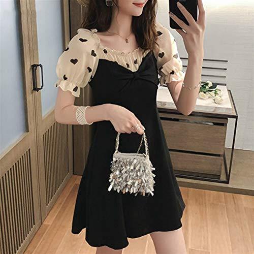 Vestido de lolita vestido de camisa de la camisa de la camisa de la calle de las mujeres de la camisa de la camisa de la segunda llegada impresa encantadora delgado y corto vestidos negros túnica vola