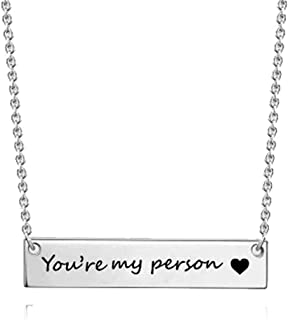 Modogirl You're My Person Heart Stainless Steel Pendant Necklace Memory Long Bar Inspirational Necklaces