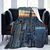 WINCAN Manta De Tiro De Lana Suave,El Empire State Building Nueva York Atardecer Amanecer Paisaje del Mundo Moderno,Home Hotel Sofá Cama Sofá Mantas para Parejas Niños Adultos,120x150cm