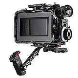 JTZ DP30 Camera Cage 15mm Rail Rod Base Plate Rig + Top Handle + Shoulder Pad + Electronic Handle Grip + Carbon Fiber Matte Box + Follow Focus for Panasonic Lumix GH3 GH4 GH5 GH5s Cameras