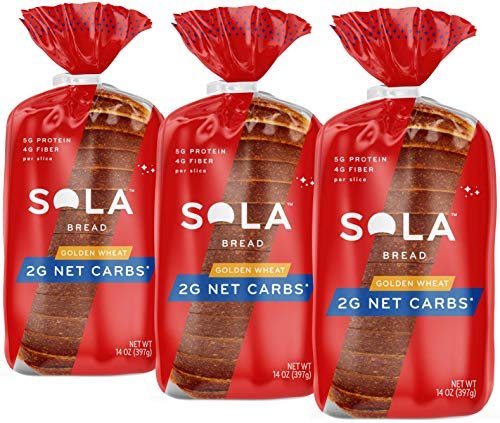 Sola Golden Wheat Bread – Low Carb, Low Calorie, Reduced Sugar, Plant Based, 5g of Protein & 4g of Fiber Per Slice – 14 OZ Loaf of Sandwich Bread (Pack of 3)